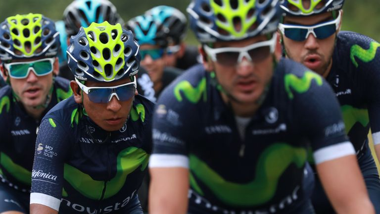 Nairo Quintana (2nd left) has a strong Movistar team