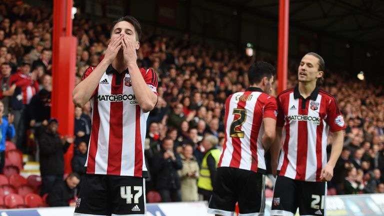 Canos (left) scored seven times during his season-long loan spell at Brentford