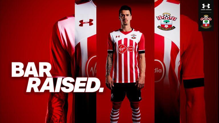 Jose Fonte models the new Southampton home kit for the 2016/17 season (image c/o Southampton)