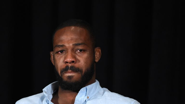 Jones was emotional as he discussed his first failed drug test in 2016