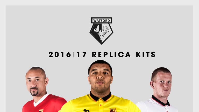 Heurelho Gomes, Troy Deeney and Ben Davies model the Watford 2016/17 kits (image c/o Watford FC)