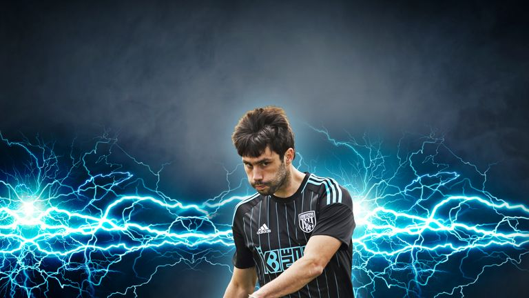 Claudio Yacob models the West Brom away kit of the 2016/17 season (image c/o West Bromwich Albion)