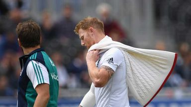 Ben Stokes leaves the field with an injury during day four of the second Test