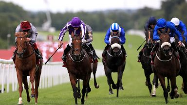 The Gurkha (centre) edges out Galileo Gold and Ribchester to win the Sussex Stakes