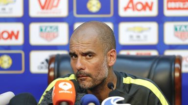 Pep Guardiola speaks to the media ahead of Manchester City's International Champions Cup against Man Utd on Monday