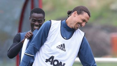 Zlatan Ibrahimovic enjoyed his first session on a rainy day at Carrington