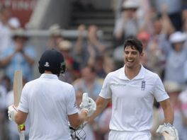 Joe Root congratulates Alastair Cook on his hundred
