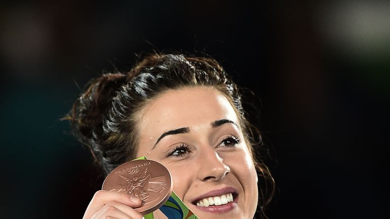 Walkden poses with her bronze medal in Rio