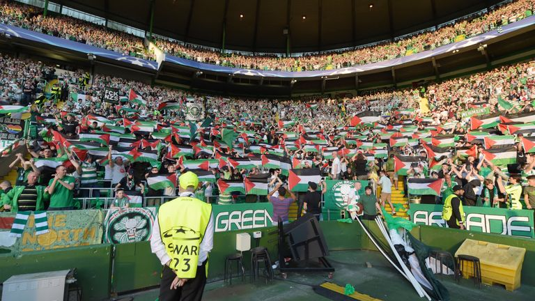 Celtic fans display several Palestine flags at their Champions League qualifier with Hapoel Be'er Sheva