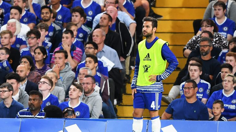 Cesc Fabregas has not started a Premier League game under Antonio Conte