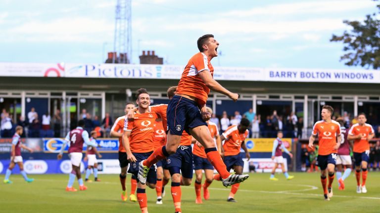 Jake Gray celebrates scoring Luton's first goal of the game against Villa
