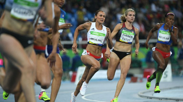 Brianne Theisen Eaton (2R) was a long-time rival with Britain's Jessica Ennis-Hill, who also retired recently
