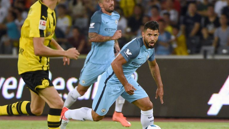 Sergio Aguero in pre-season action for Man City
