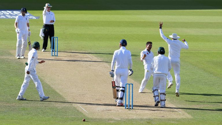 Yasir Shah of Pakistan celebrates dismissing Alex Hales of England during day three of the 4th Investec Test