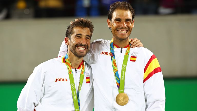 Rafael Nadal (r) returned to action following an injury absence by winning an Olympic gold medal with Marc Lopez in the men's doubles