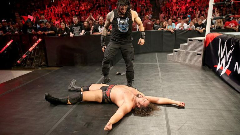 Reigns floored Rusev with a spear on the August 8 edition of Raw