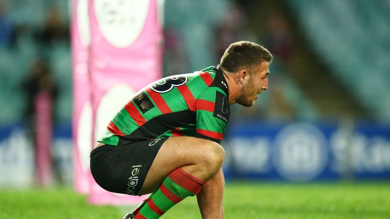 Sam Burgess of the Rabbitohs looks dejected after his side's loss