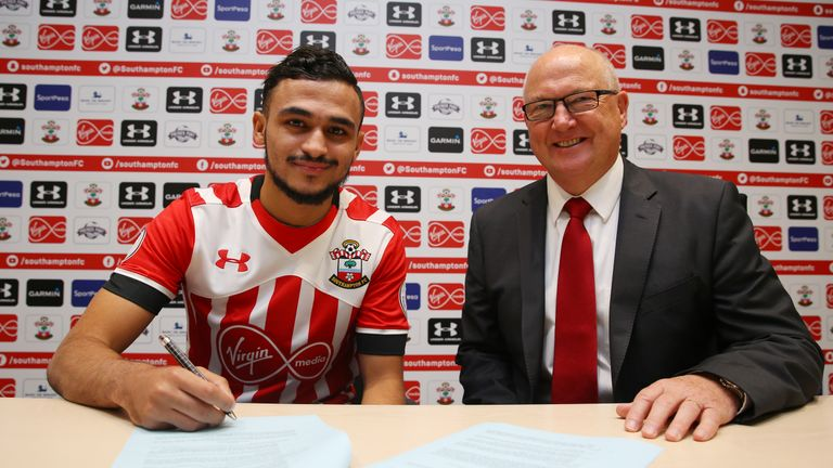 Sofiane Boufal signs for Southampton with executive director of football Les Reed