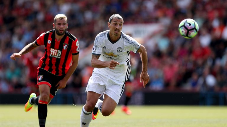 Ibrahimovic helped Man Utd to victory at Bournemouth earlier this season