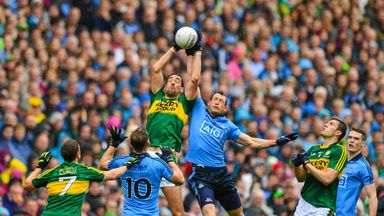 Kerry's Anthony Maher in action against Dublin's Denis Bastick