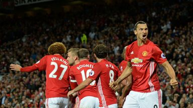 Zlatan Ibrahimovic (R) celebrates after scoring the second goal of the game