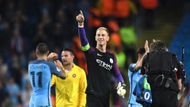 Hart gestures to the City faithful at full-time