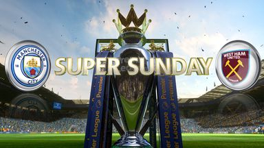 Manchester City welcome West Ham to the Etihad on Super Sunday, live on Sky Sports 1 HD from 3.30pm