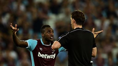 Michail Antonio remonstrates with referee Manuel Grafe during the defeat