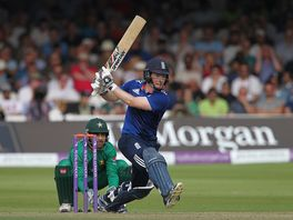 Eoin Morgan sweeps another boundary in England's four-wicket win against Pakistan at Lord's.