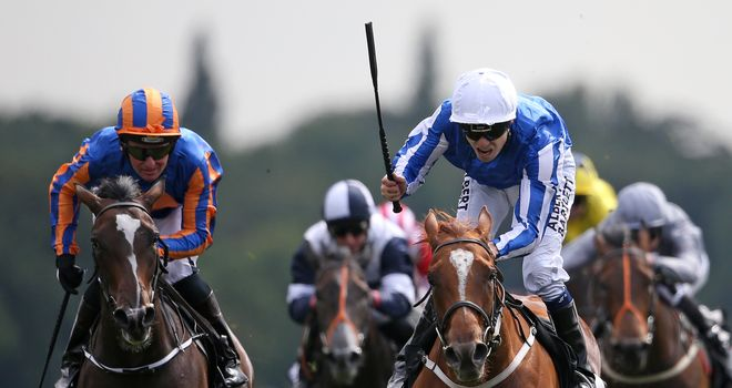 Jamie Spencer celebrates on Queen Kindly after winning the Sky Bet Lowther Stakes last year.