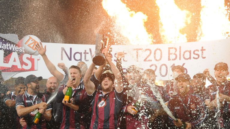 Northamptonshire Steelbacks players celebrate with the trophy after winning the T20 Final
