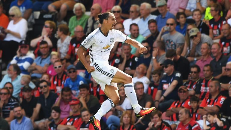 Zlatan Ibrahimovic celebrates scoring Manchester United's third goal
