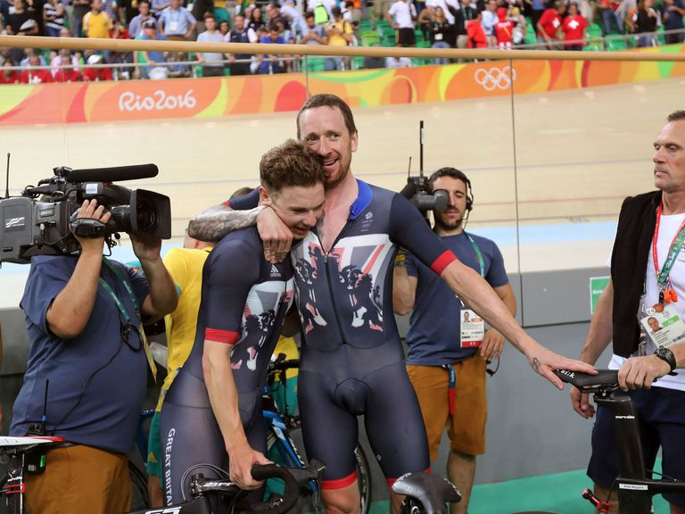 Great Britain's Sir Bradley Wiggins celebrates with Owain Doull following the men's team pursuit final at Rio 2016