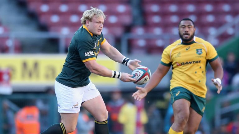 Adriaan Strauss of South Africa passes the ball during The Rugby Championship match between the  Springboks and the Wallabies