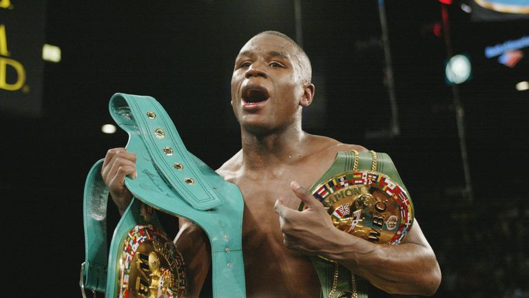 A young Floyd Mayweather still covered in championships