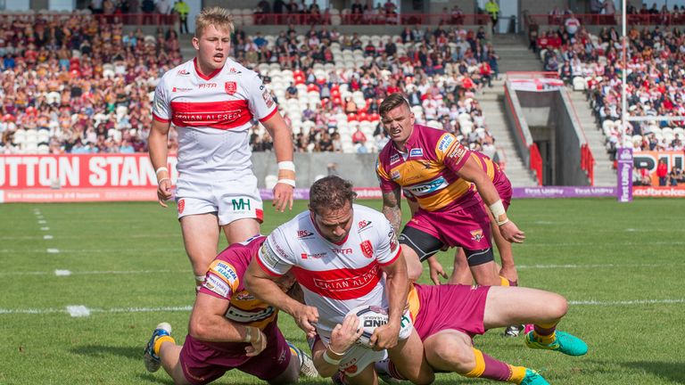 Huddersfield can't prevent Hull KR's Maurice Blair from crossing to score a try
