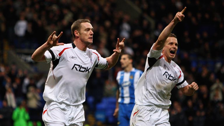 Kevin Nolan (L) and Kevin Davies (R) celebrate for Bolton