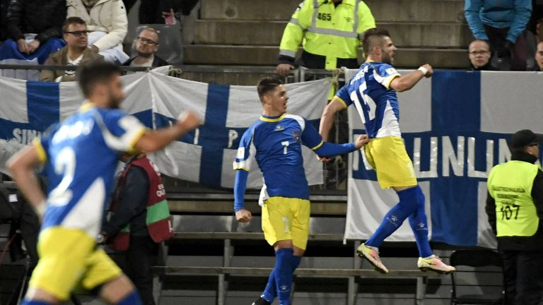 Valon Berisha of Kosovo celebrates their first-ever World Cup goal