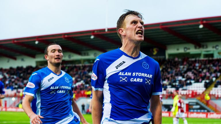 Liam Craig celebrates scoring for St Johnstone