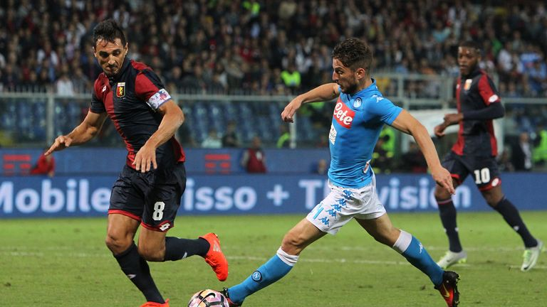 Dries Mertens (R)  is challenged by Nicolas Andres Burdisso (L)  during Napoli's 0-0 draw at Genoa