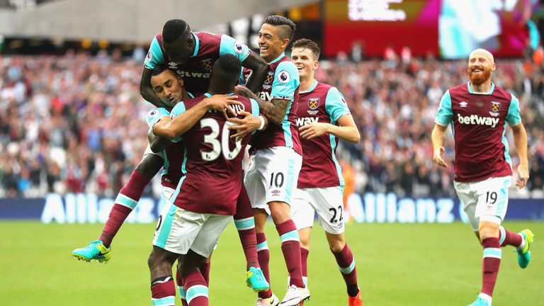 Michail Antonio scored both of West Ham's goals  but Watford's fightback sparked trouble in the stands