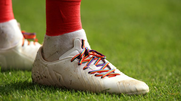 Players have shown their support for the Rainbow Laces initiative
