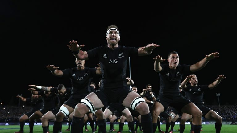 All Blacks captain Kieran Read leads the haka