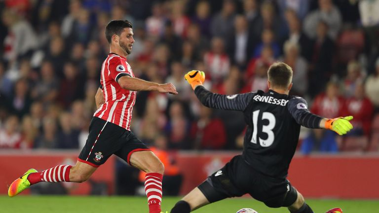 Shane Long almost scored in the second half after rounding Wayne Hennessey