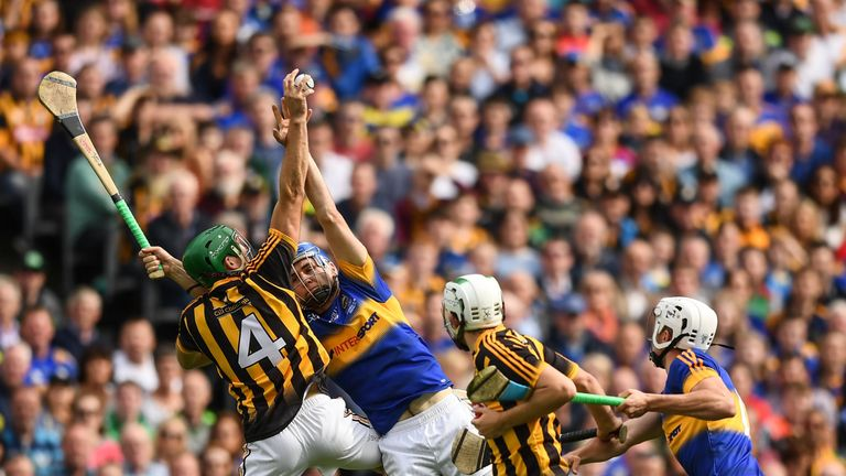 Kilkenny defender Shane Prendergast competes in the air with John McGrath