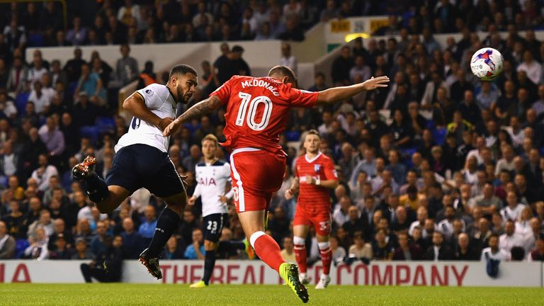 Cameron Carter-Vickers of Tottenham heads wide