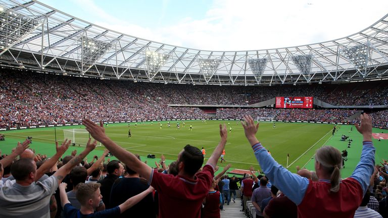 West Ham fans in the stands at the London Stadium