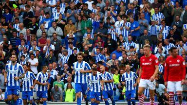 Glenn Murray of Brighton & Hove Albion celebrates with team-mates