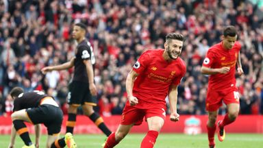 Liverpool's Adam Lallana after scoring the opening goal of the game against Hull