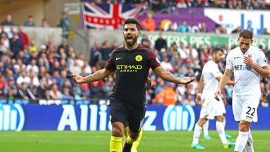Sergio Aguero celebrates scoring Manchester City's second from the penalty spot